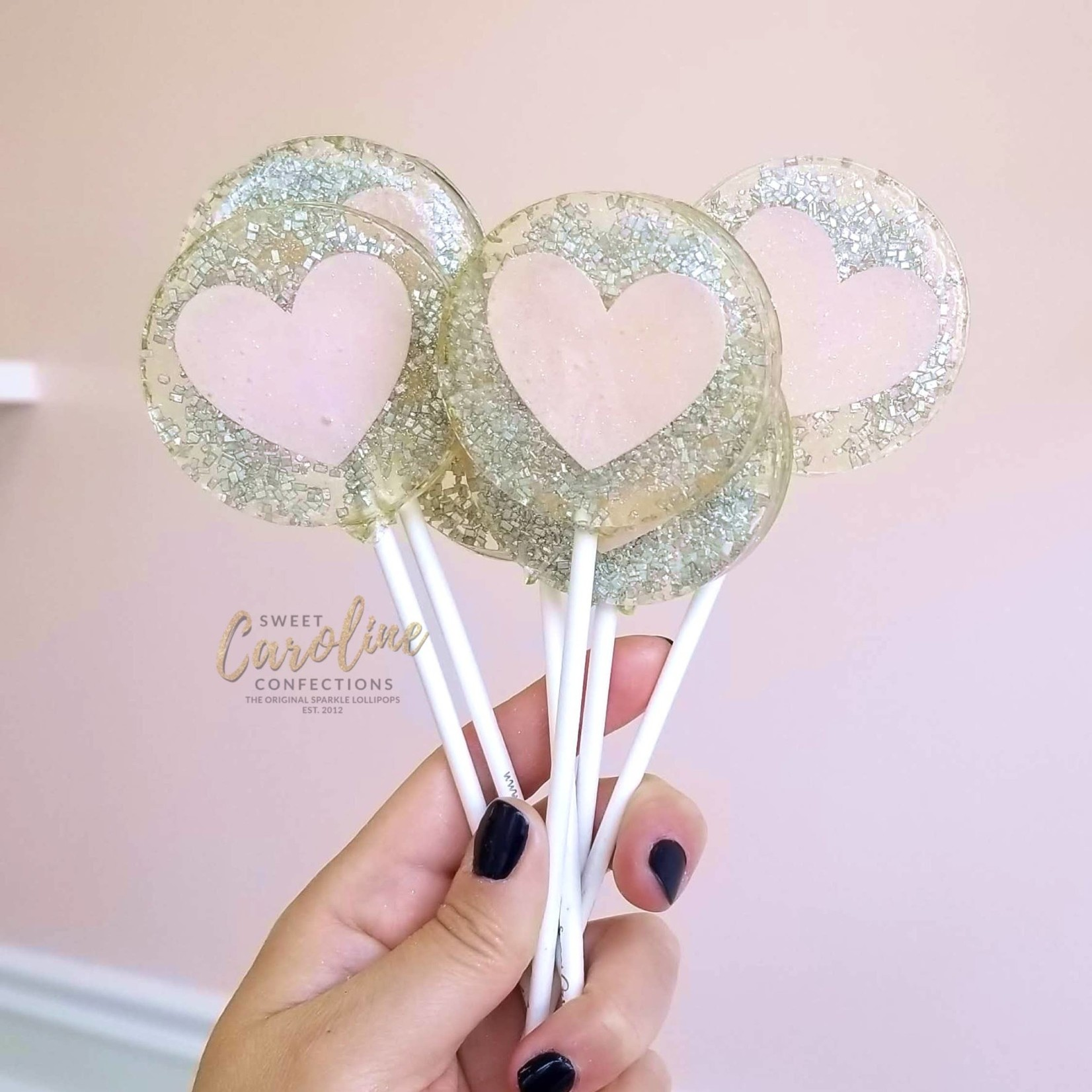 Silver & Pink Heart Lollipop, Champagne Flavor
