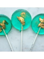 Teal and Gold Sparkle Lollipop, Green Apple
