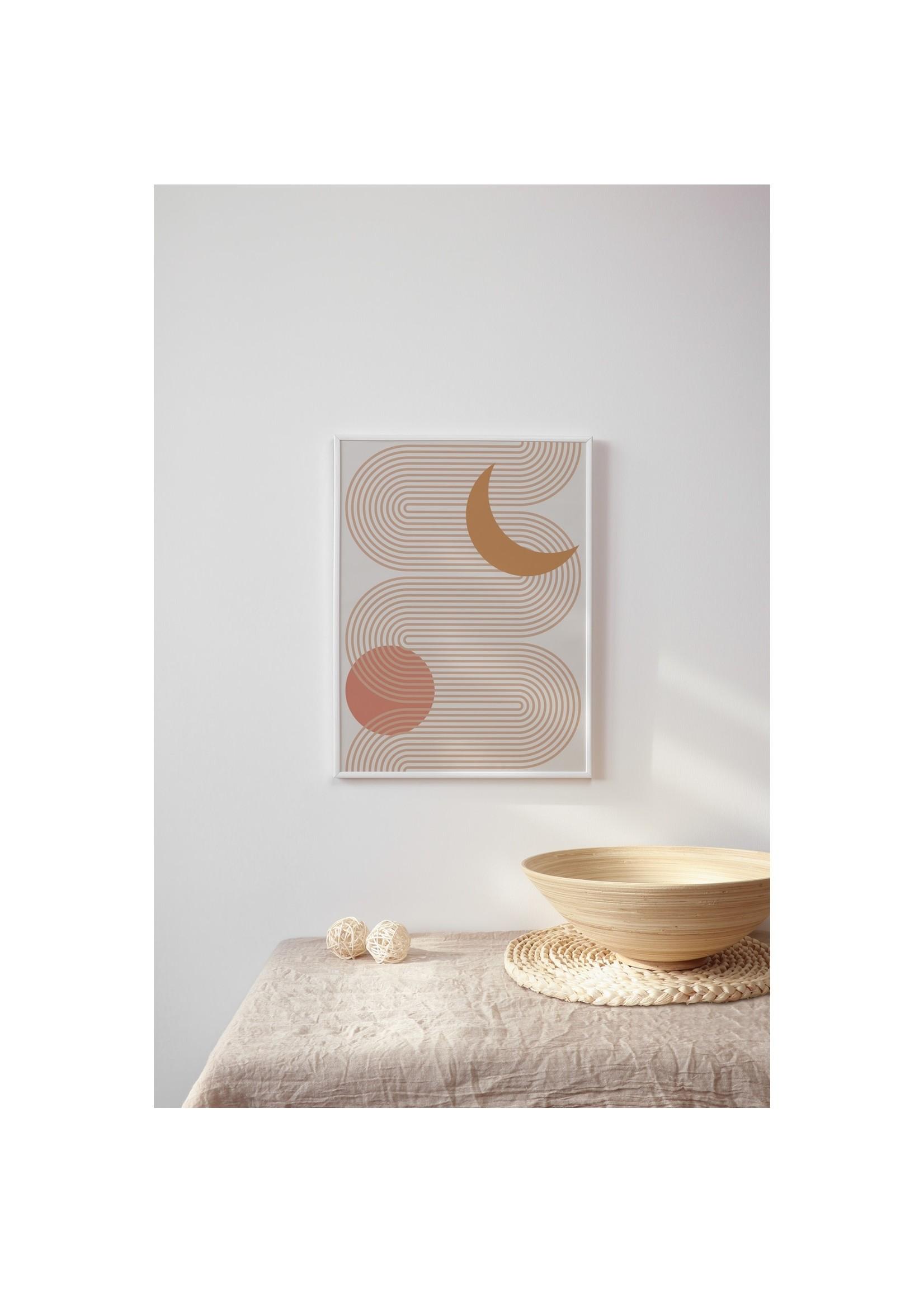 "Sam's Simple Decor Abstract Line Art Sun and Moon Print 8x10"""