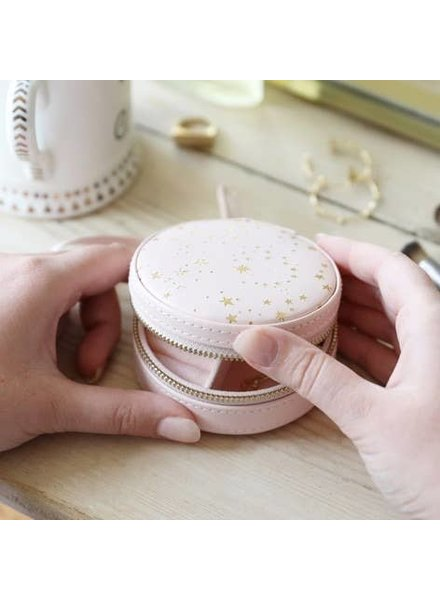 EM & ELLE Pink With Gold Stars Mini Round Travel Jewelry Case