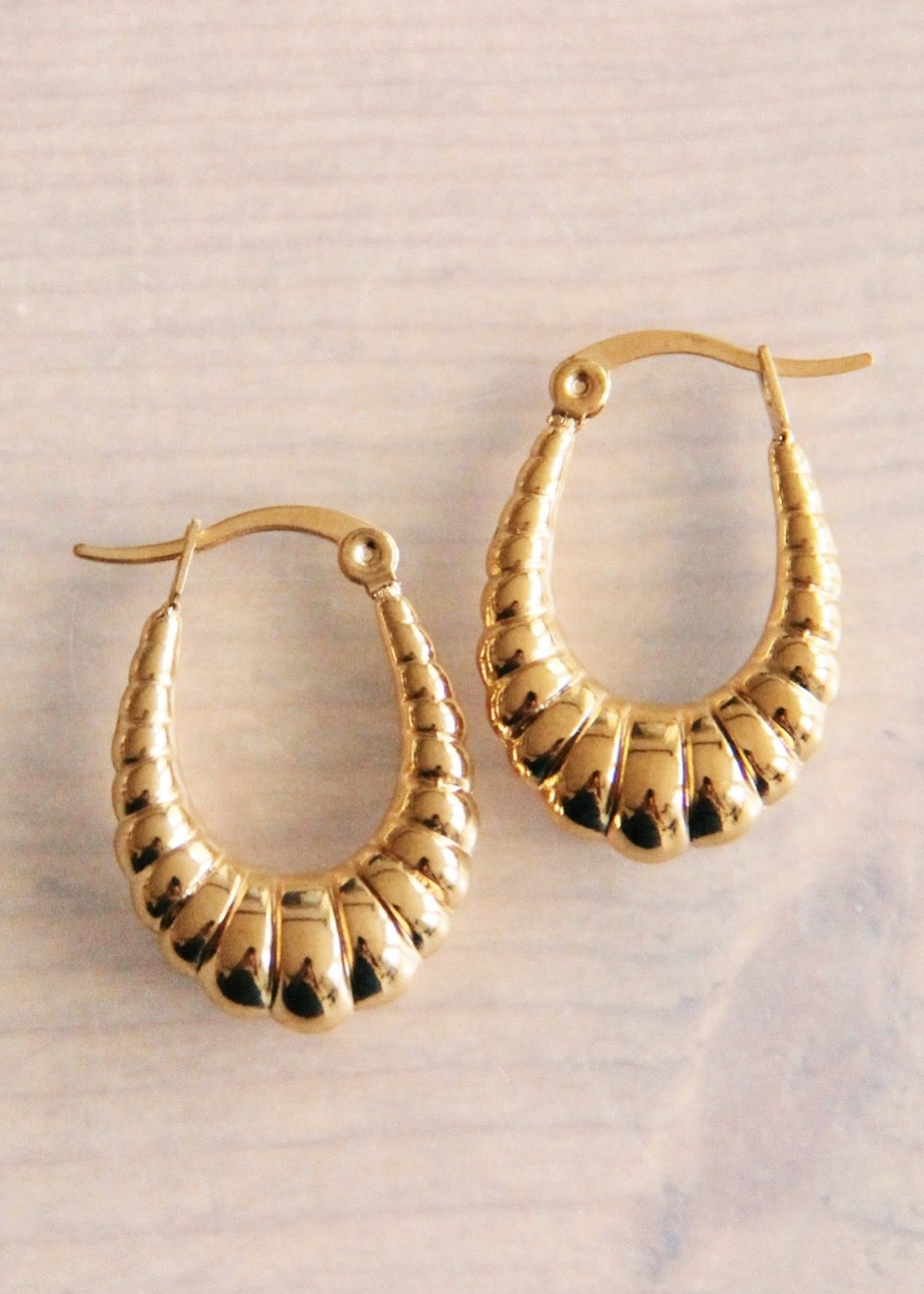 """Stainless Steel Creole 22mm """"Oval Croissant"""" - Gold Hoops"""