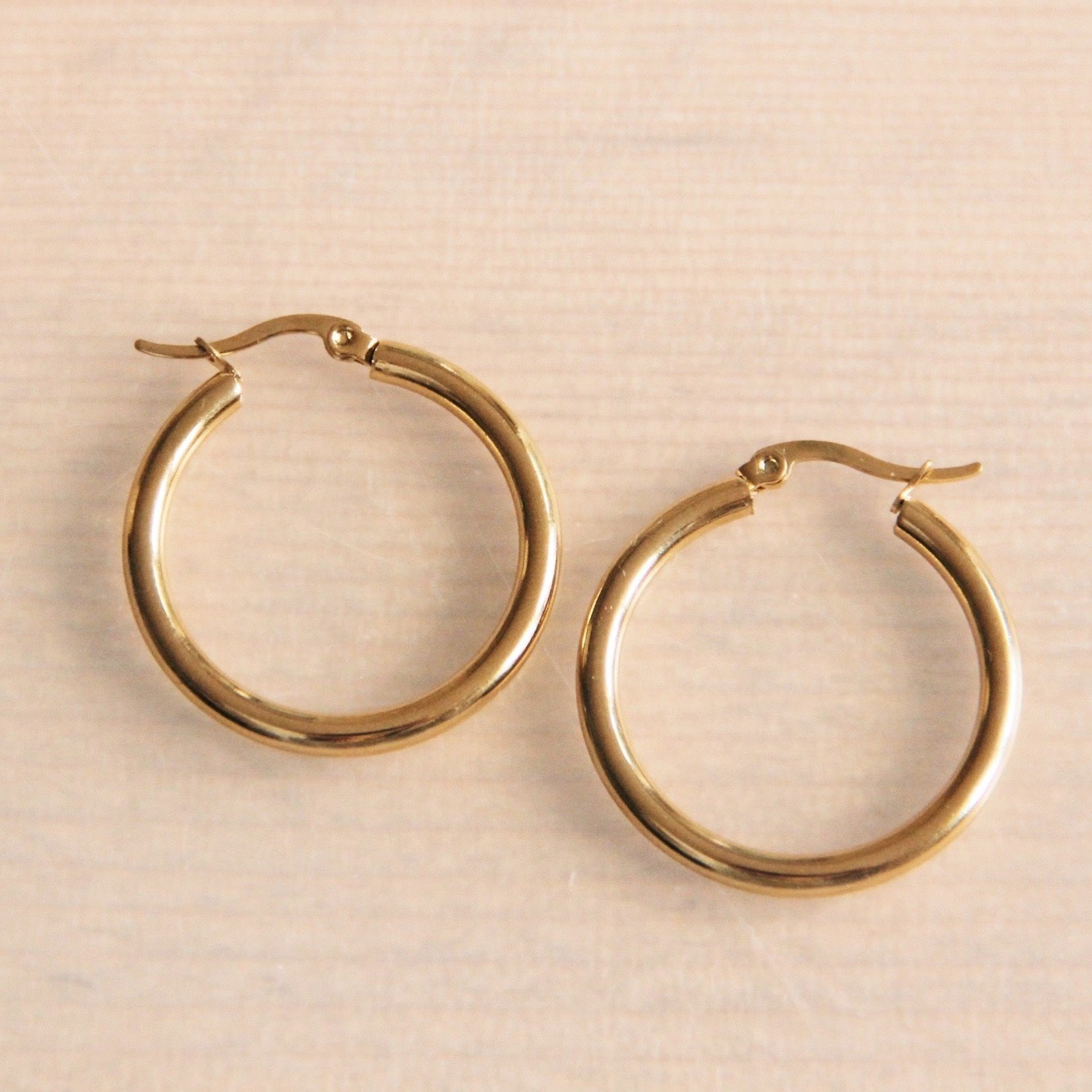 """Stainless Steel Creole 30mm """"Basic"""" - Gold Circle Hoop"""