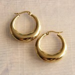 """Stainless Steel Creole 30mm """"Wide"""" - Gold Hoop"""