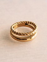 """Steel Double Ring """"Twisted"""" - Gold"""