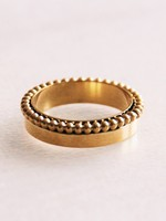 Stainless Steel Ring With Dotted Edge - Gold