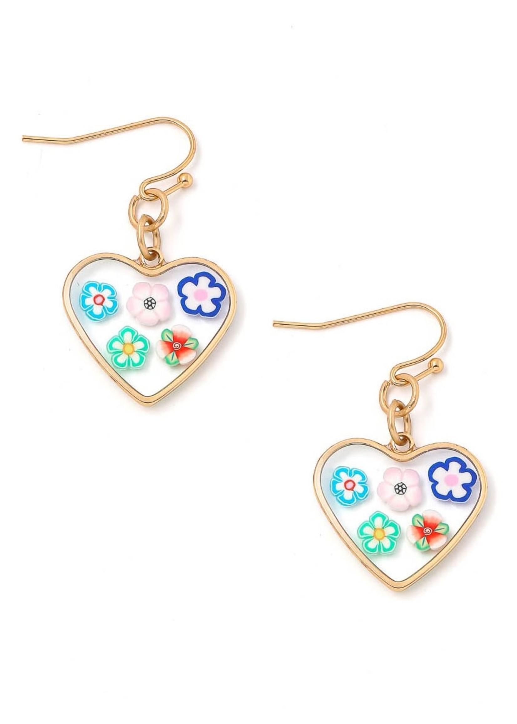 EM & ELLE Flower Heart Earrings