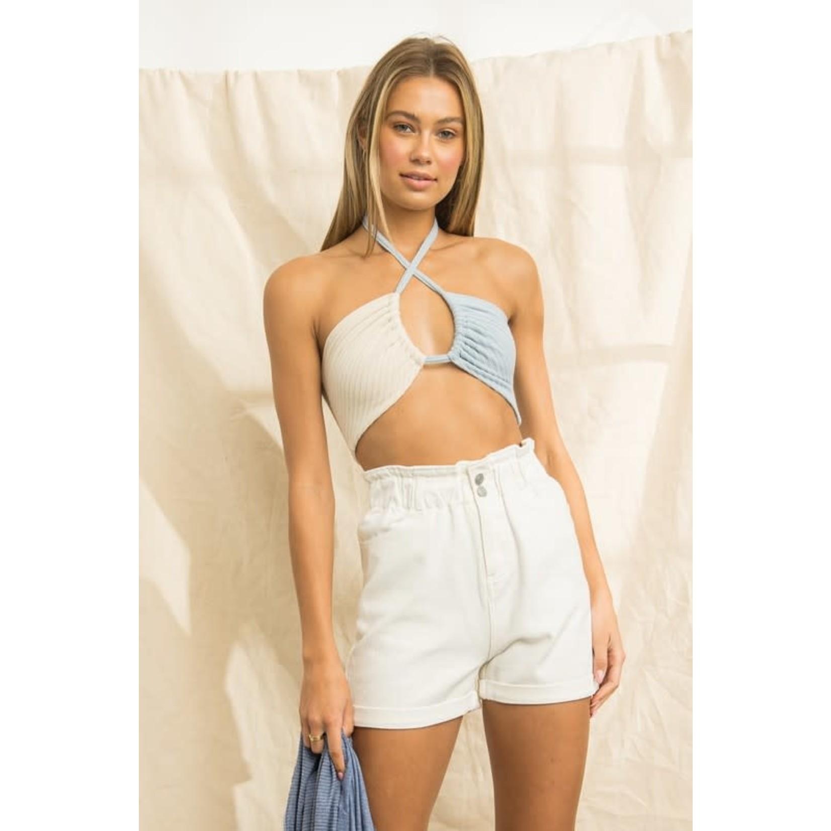 EM & ELLE Paperbag Denim Shorts