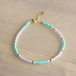 Beaded anklet lilac / mint / gold - AN904