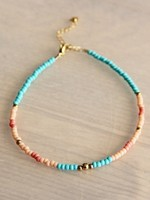 Beaded anklet turquoise / coral / salmon / gold - AN905