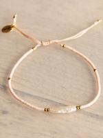 Miyuki Bracelet With Elongated Pearl - Peach / Gold