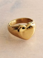 Steel Ring With Heart - Gold