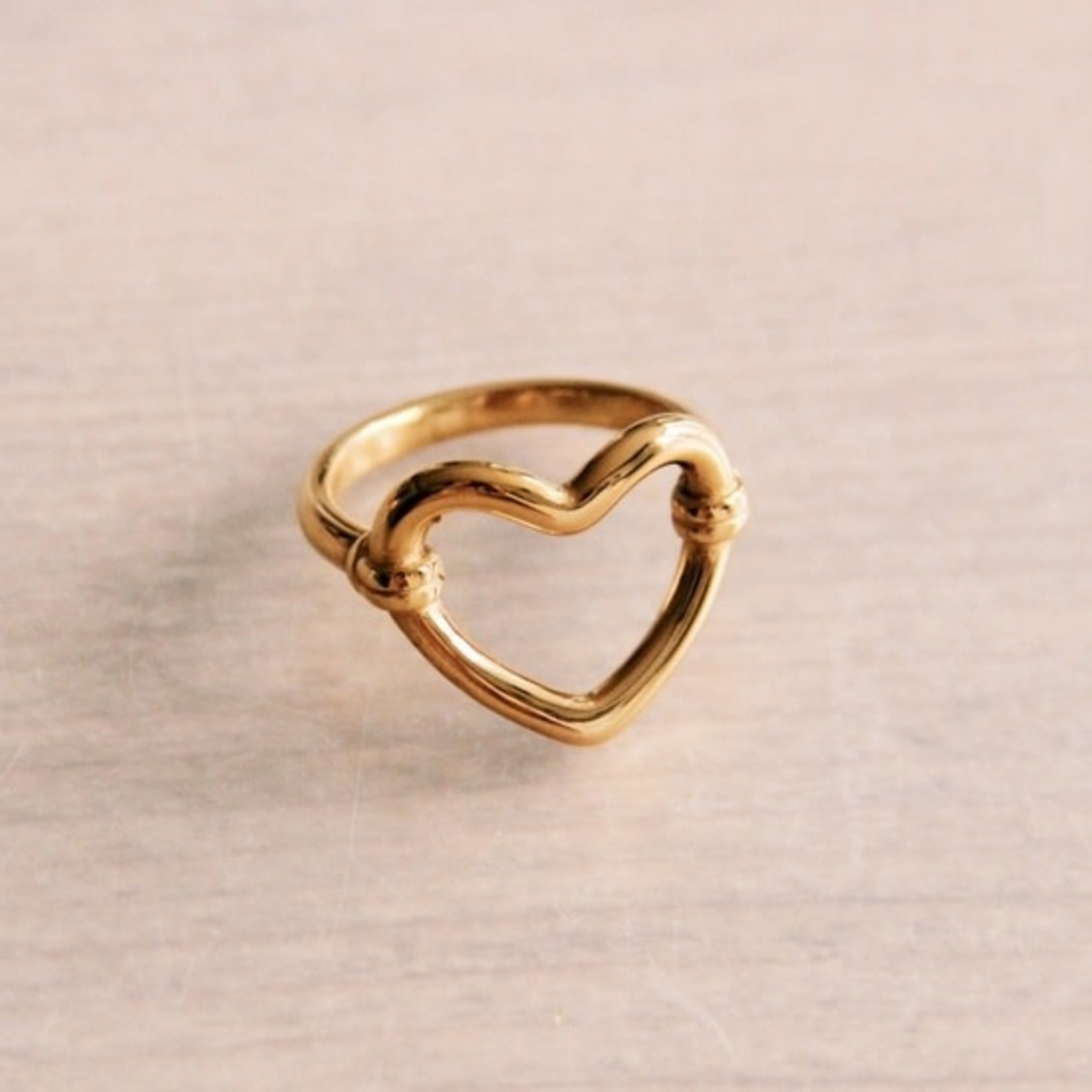 Steel Ring With Open Heart - Gold