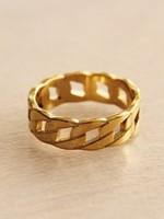 """Steel Link Ring """"Medium"""" - Gold"""