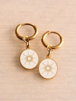 Steel Creoles With Oval Charm and Elegant Star - Gold/Peach