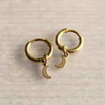 Steel Creoles With Mini Moon - Gold