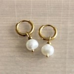 Steel Creoles With Freshwater Pearl Drop - Gold