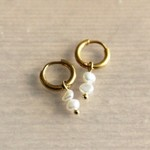 Steel Creole With 2 Freshwater Pearls - Gold