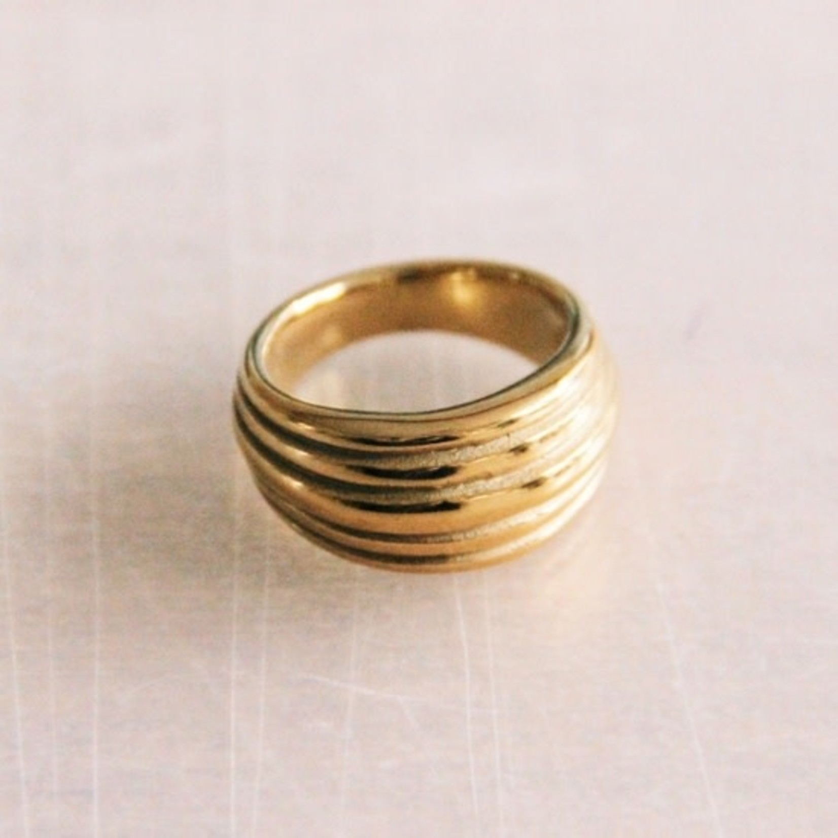 Stainless Steel Wide Flared Ring Machined - Gold