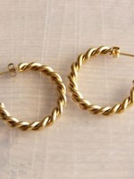 """Stainless Steel Half Open Earring 30mm """"Twisted"""" - Gold"""