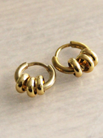 Stainless Steel Creole With 3 Rings - Gold