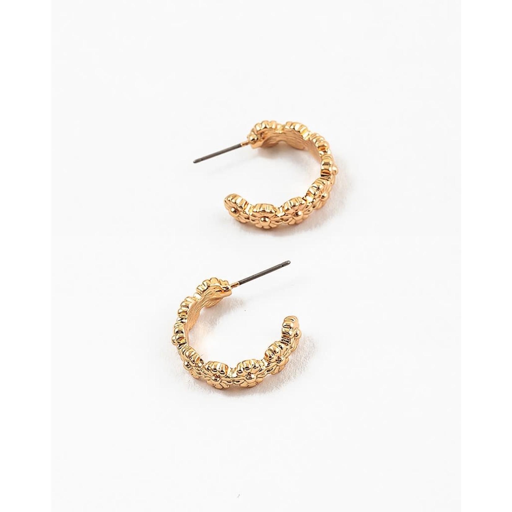 EM & ELLE Gold Flower Hoop Earring