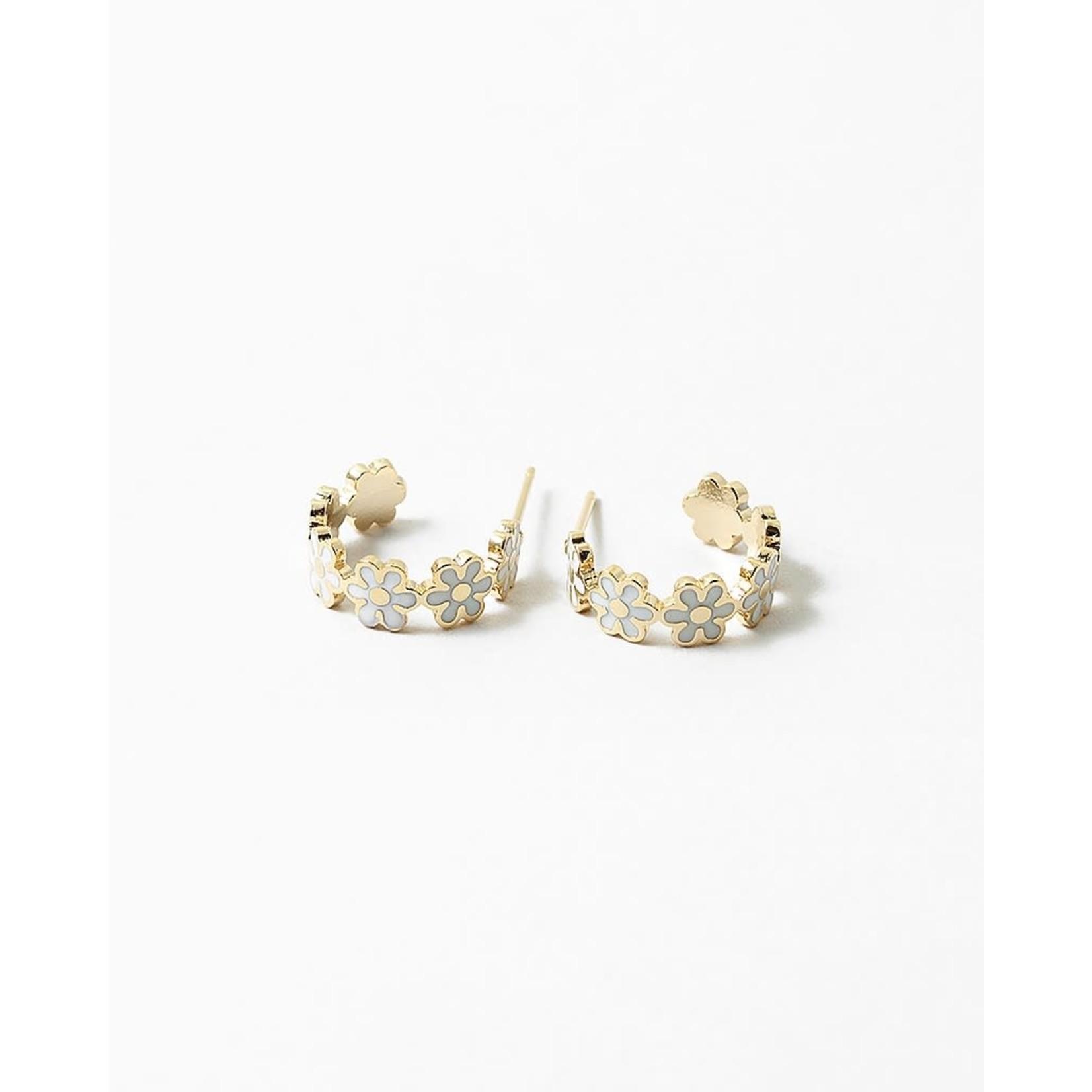 EM & ELLE White Flower Hoop Earrings