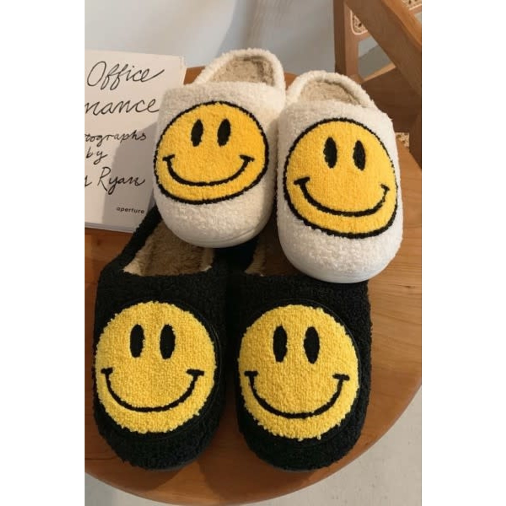 Smiley Face Fuzzy Slippers