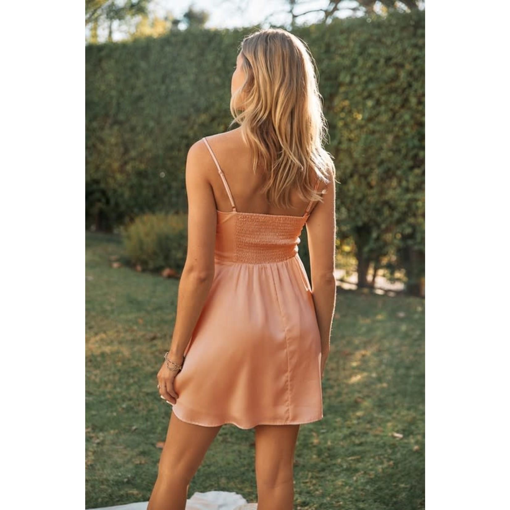 EM & ELLE Find Your Way Satin Smocked Dress