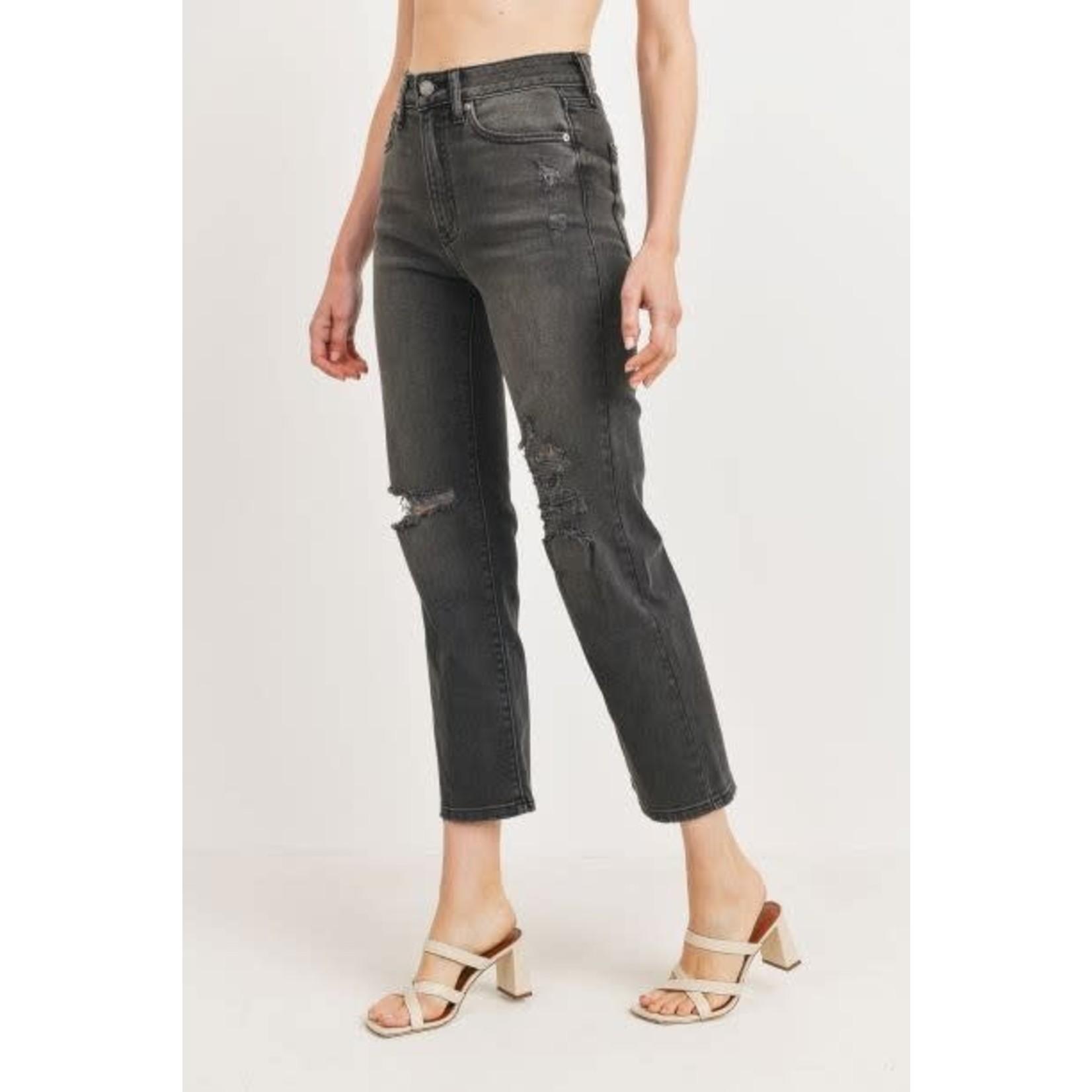Just Black Denim Charlie Straight Leg Distressed Jean