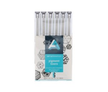 Art Alternatives PIGMENT LINER BLK 6PC W/BRUSH Pen