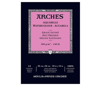 ARCHES WATERCOLOR 140LB HOT PRESSED 12 SHEET PAD 10X14