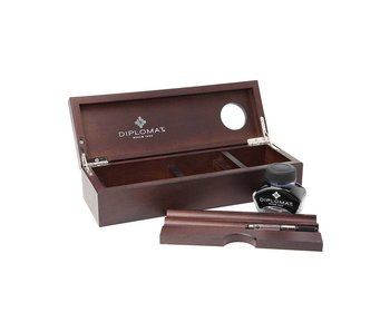 Diplomat Wenge Wooden Box Desk Equipment & Ink Pot
