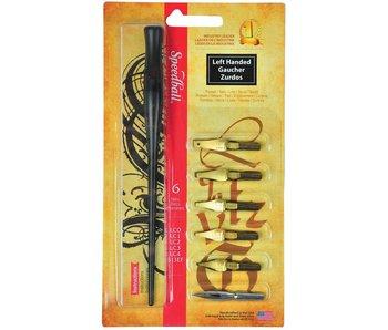 Speedball Calligraphy Pen Set W/ 6 Nibs Left Handed