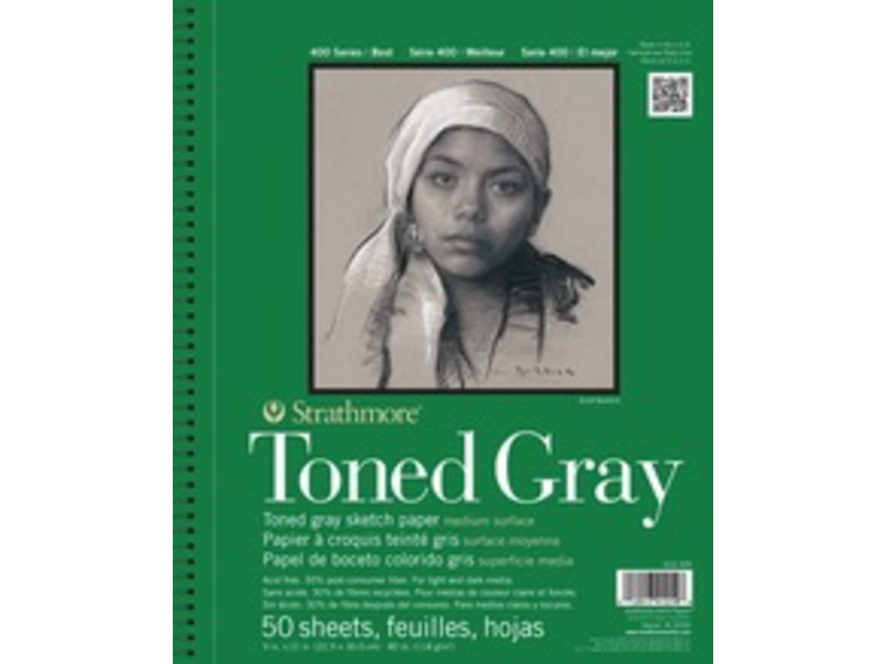 STRATHMORE TONED GRAY SKETCH PAD 9x12 50 SHEETS