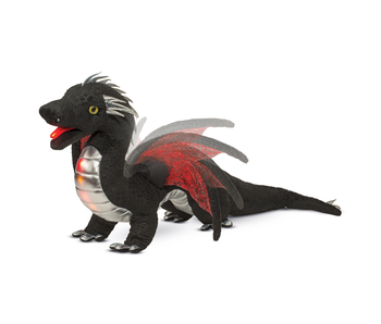 DOUGLAS CUDDLE TOY PLUSH EMBER BLACK DRAGON - LIGHT & SOUND