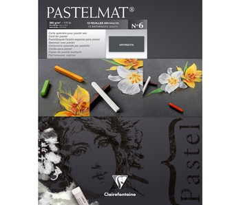 """CLAIREFONTAINE Pastelmat No 6 12 sheets Anthracite 9.5x12"""" 24x30cm"""