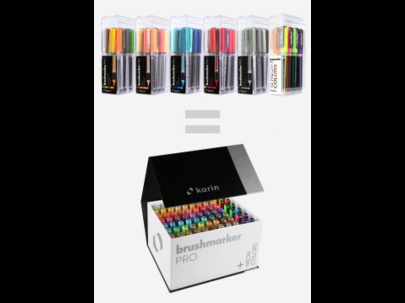 Karin Brushmarker Pro Mega Box 72 Colours + 3 Blenders Set (Includes new Neons)