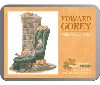 POMEGRANATE ARTPIECE PUZZLE 100 PIECE: GOREY BIBLIOPHILE W/ CAT