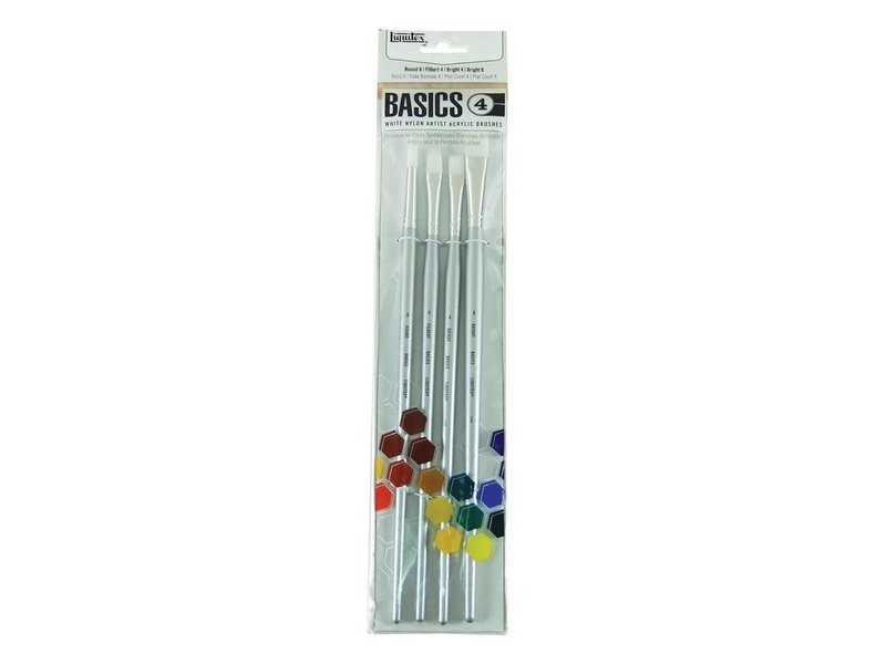 BASICS WHITE NYLON ARTIST ACRYLIC BRUSHES 4 LARGE