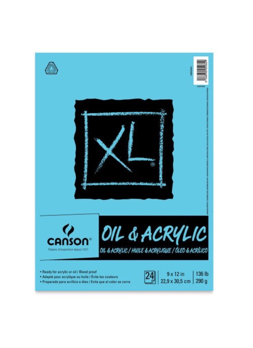 CANSON OIL & ACRYLIC CANVAS PAPER 136 LB 11 X 14 PAD 24 SHEETS