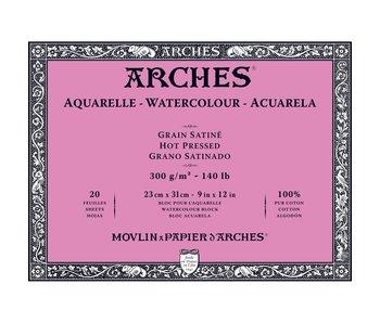 ARCHES WATERCOLOUR BLOCK HOT PRESS HP 140LB 9x12