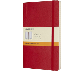 Moleskine Classic Notebook, Large, Ruled, Scarlet Red, Soft Cover (5 X 8.25)