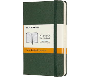 MOLESKINE CLASSIC COLLECTION HARD COVER RULED NOTEBOOK GREEN 3.5X5.5 192 PAGES