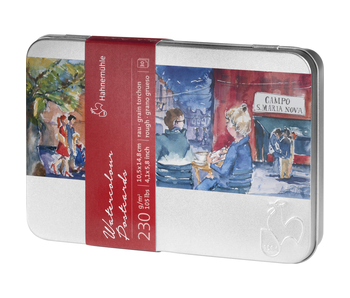 Hahnemuhle Watercolour Postcards in Metal Tin Rough - 30 sheets in metal tin 230 gsm