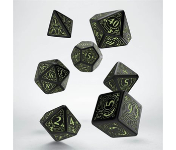 Steampunk Dice Black and Glow 7Pc
