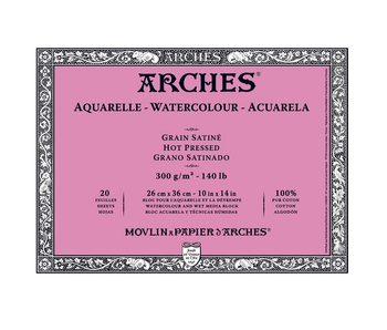 ARCHES WATERCOLOUR 20 SHEET BLOCK HOT PRESS HP 140LB 10X14