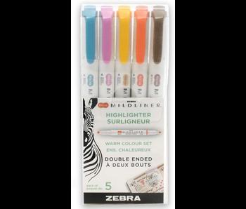 Zebra MildLiner Brush Pen & Marker Set 5 Count - Warm