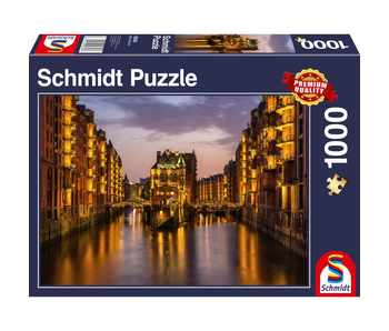 SCHMIDT PUZZLE 1000: HAMBURG - NIGHTFALL IN THE WAREHOUSE DISTRICT