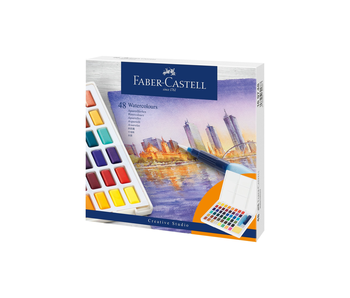 Faber Castell 48 Pan Watercolour Set With Waterbrush