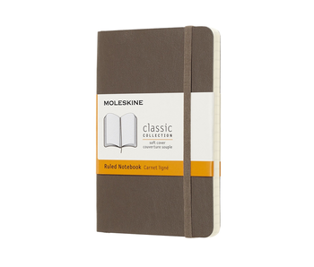 MOLESKINE CLASSIC COLLECTION SOFT COVER RULED NOTEBOOK  3.5X5.5 BROWN